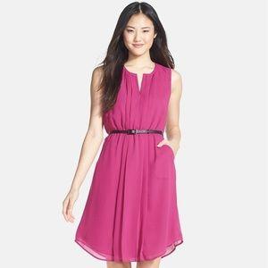 Halogen belted pleat front dress